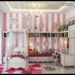 Et prinsesseværelse med hvide og lyserøde striber maling