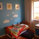 Blå maling brugt på et børneværelse