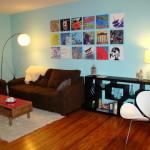 Babyblå nuance i stuen