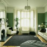 Opholdsstue med grønne vægge