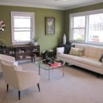 Stue med afslappende, grønne væg